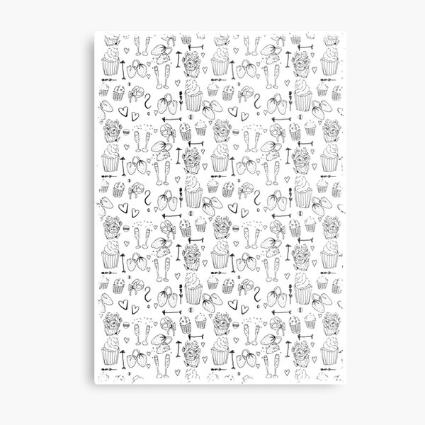 Cute Black and White Valentine Doodle Pattern Metal Print
