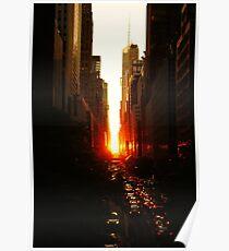 Manhattanhenge Sunset Midtown New York City Poster
