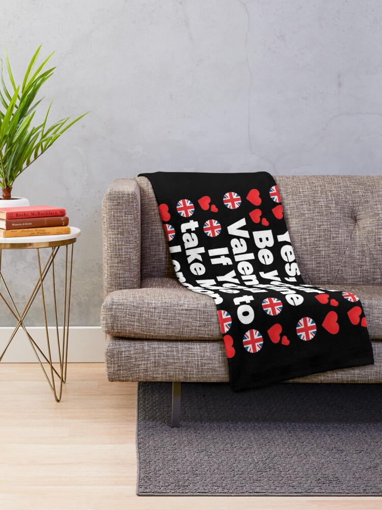 Alternate view of English Emoji UK Your Valentine if you Take Me to London Throw Blanket