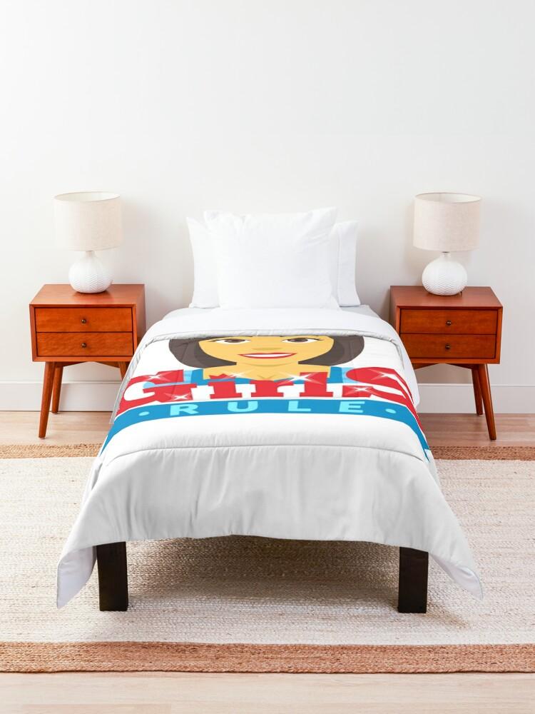 Alternate view of Queen Girls Rule Emoji Boss Babe Cartoon Comforter