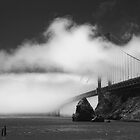 Golden Gate in heavy fog by Kenneth Ng