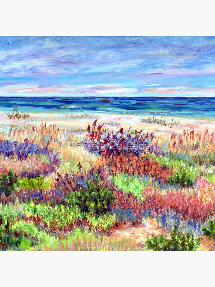 Long Beach Island, Jersey Shore. from impressionist, acrylic painting by Pamela Parsons. Dunes, Ocean, Beach art. by parsonsp