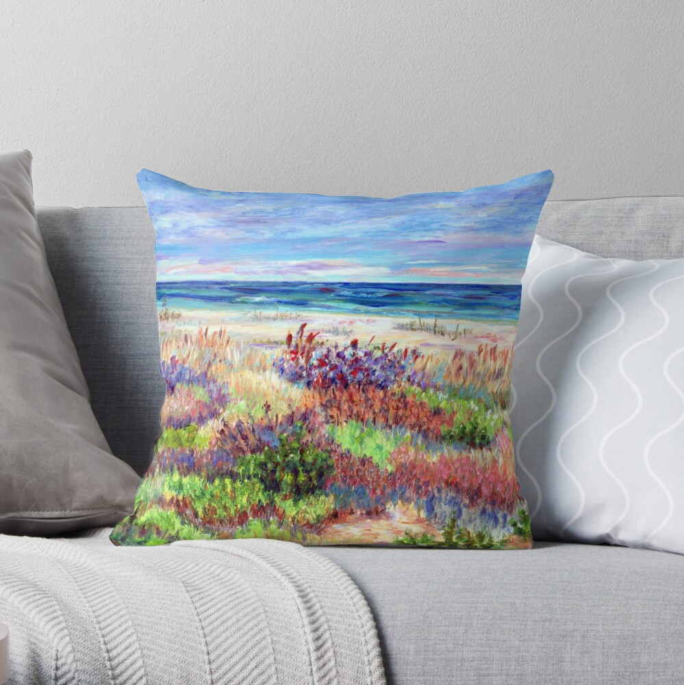 Long Beach Island, Jersey Shore. from impressionist, acrylic painting by Pamela Parsons. Dunes, Ocean, Beach art. Throw Pillow