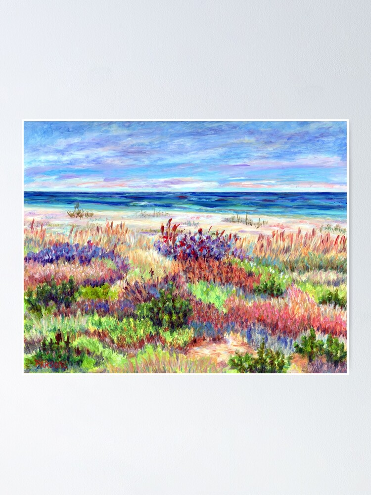 Alternate view of Long Beach Island, Jersey Shore. from impressionist, acrylic painting by Pamela Parsons. Dunes, Ocean, Beach art. Poster