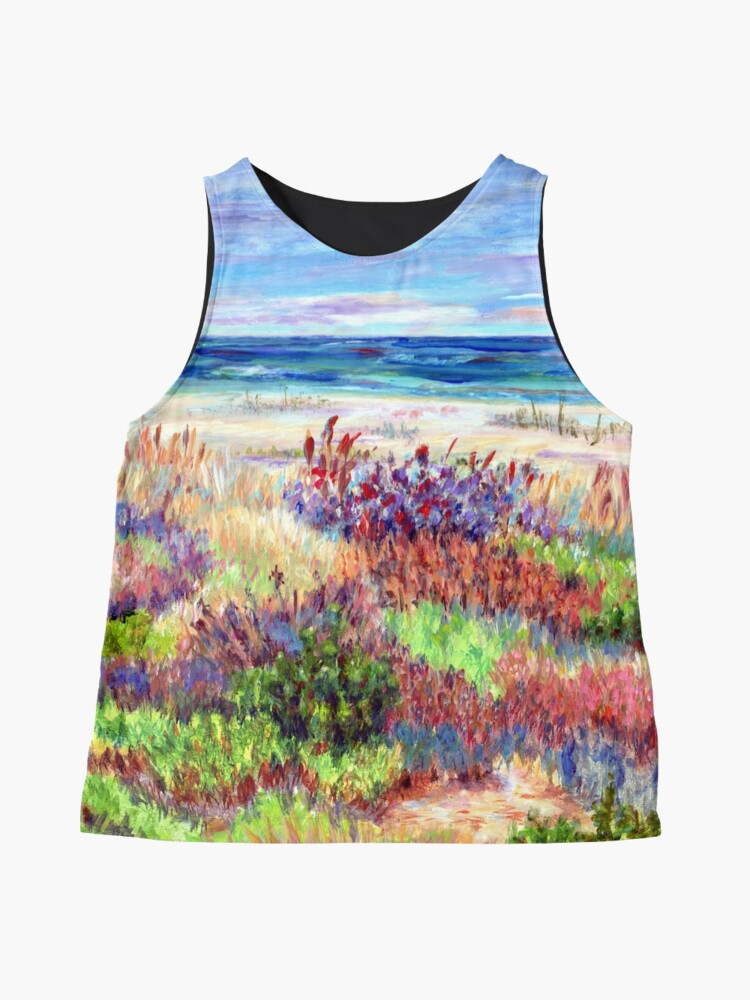 Alternate view of Long Beach Island, Jersey Shore. from impressionist, acrylic painting by Pamela Parsons. Dunes, Ocean, Beach art. Sleeveless Top