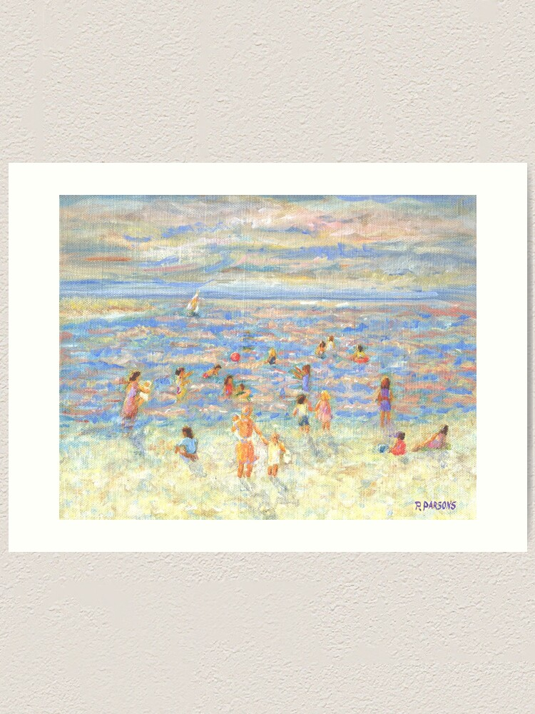 Alternate view of Mother and Child at the Beach, from impressionist painting by Pamela Parsons Art Print