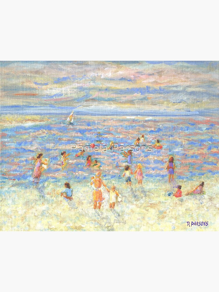 Mother and Child at the Beach, from impressionist painting by Pamela Parsons by parsonsp