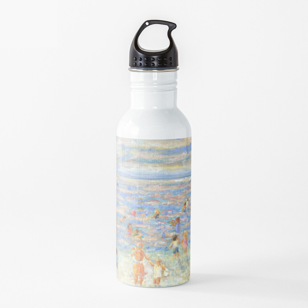 Mother and Child at the Beach, from impressionist painting by Pamela Parsons Water Bottle