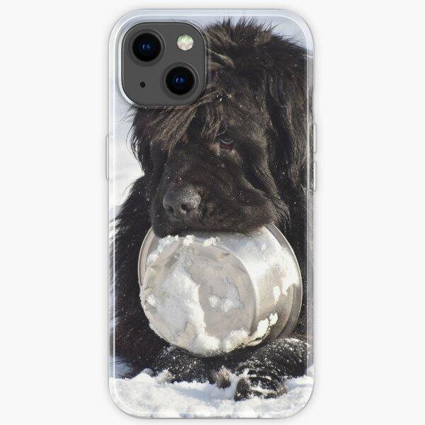 Hungry Newfoundland dog 1 iPhone Soft Case