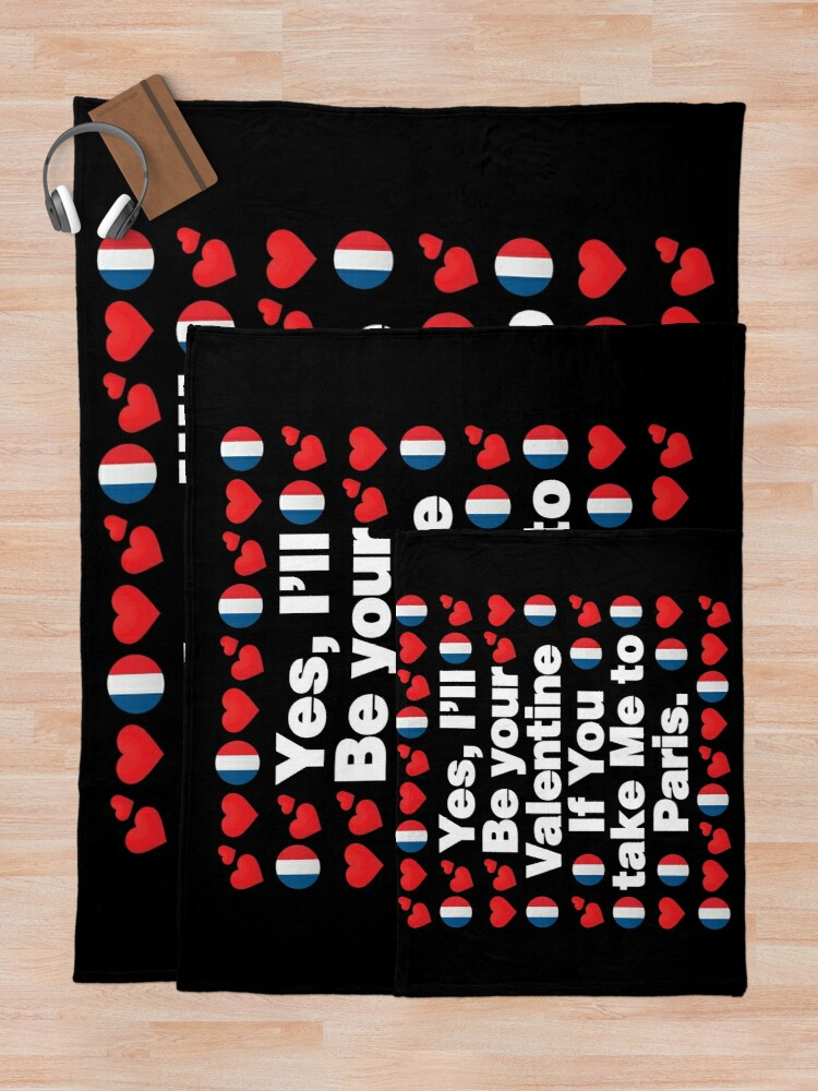 Alternate view of French Emoji France Your Valentine if you Take Me to Paris Throw Blanket