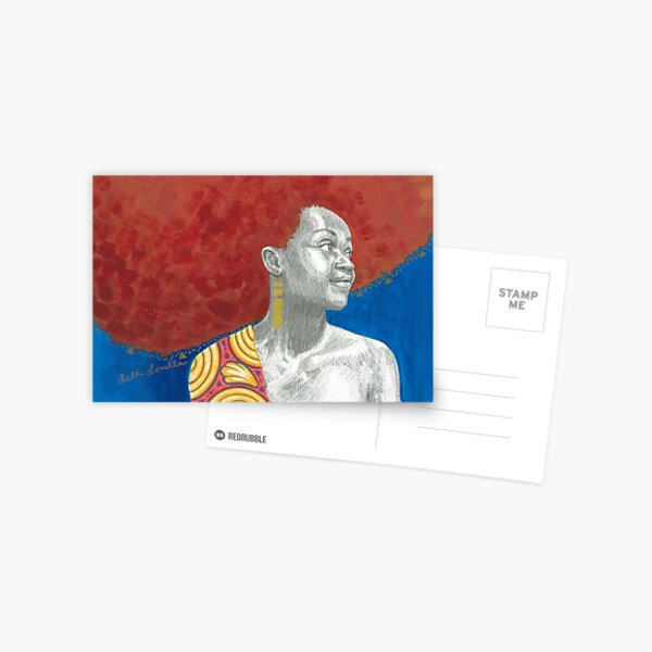 Afro Halo Orange and Blue (card) Postcard
