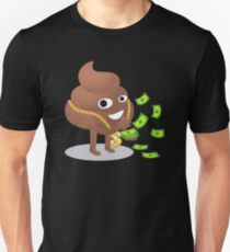 Cash Money Emoji Poo with Golden Dollar Chain Slim Fit T-Shirt