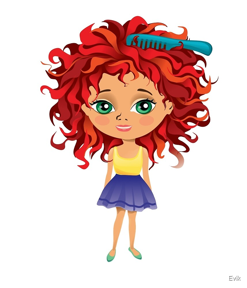 Redhead girl standing with hair brush by Evik