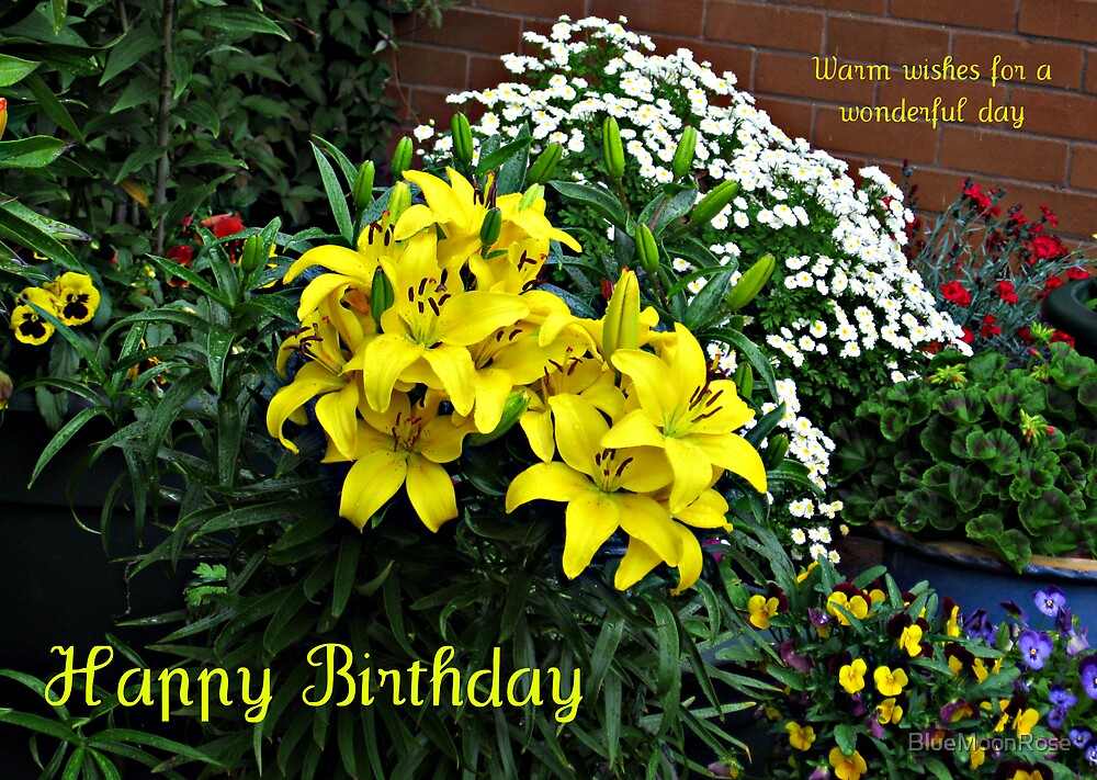 Floral Birthday Card with Lilies, Pansies and Violas by BlueMoonRose