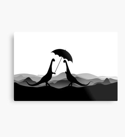 DINO LOVE UMBRELLA - Dinosaurs with Umbrella - Dino Collection Metal Print
