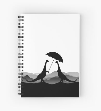 DINO LOVE UMBRELLA - Dinosaurs with Umbrella - Dino Collection Spiral Notebook