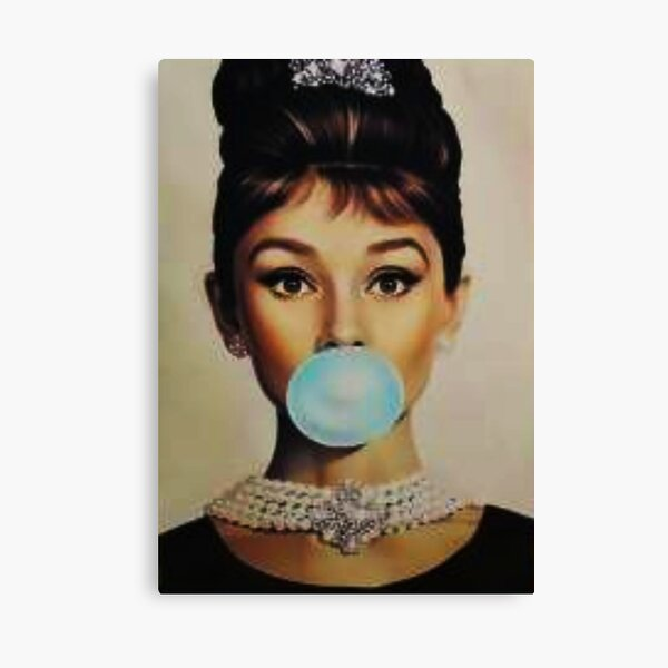 Audrey Hepburn bubble gum sky blue Canvas Print