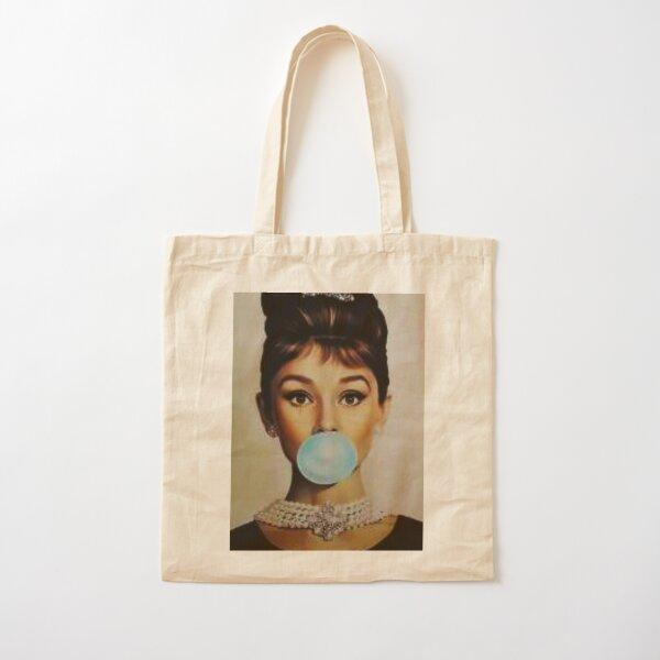 Audrey Hepburn bubble gum sky blue Cotton Tote Bag