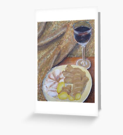 Wine, Ginger, and Garlic Greeting Card