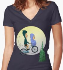 Beavis and Butthead ET Women's Fitted V-Neck T-Shirt
