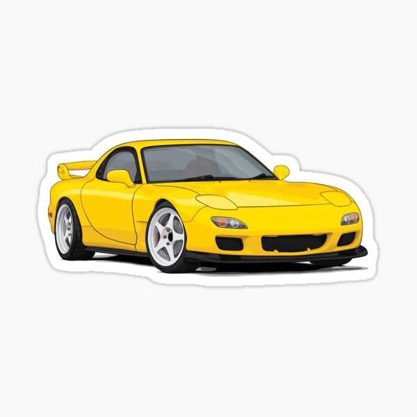 RX-7 Fd3s Illustration yellow Sticker