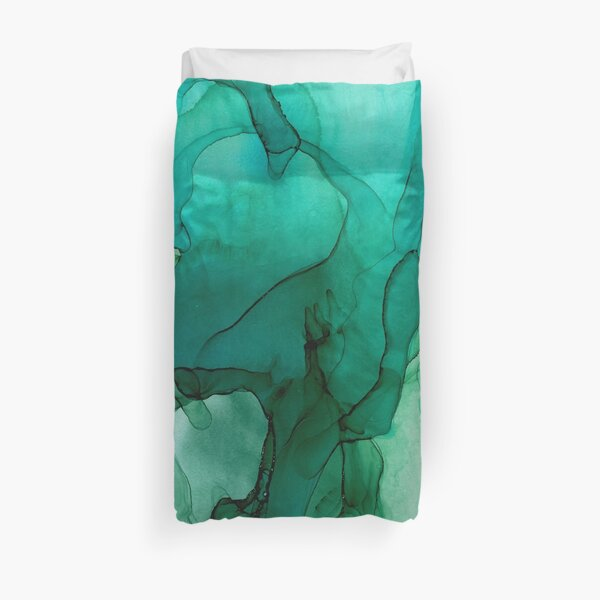 Green Abstract Hunting I Duvet Cover