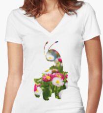 Meganium used petal blizzard Women's Fitted V-Neck T-Shirt