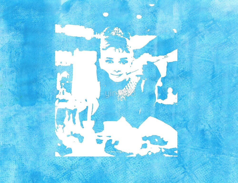 Audrey Hepburn Iconic Breakfast at Tiffany's Watercolour Blue   by yin888