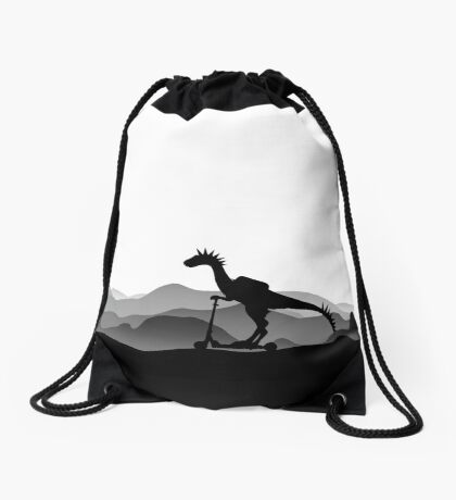DINO ON SCOOTER - DINOSAUR ON CHILD SCOOTER - Dino collection Drawstring Bag