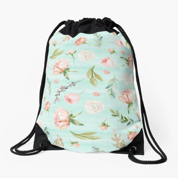 Minty Peach Floral Drawstring Bag