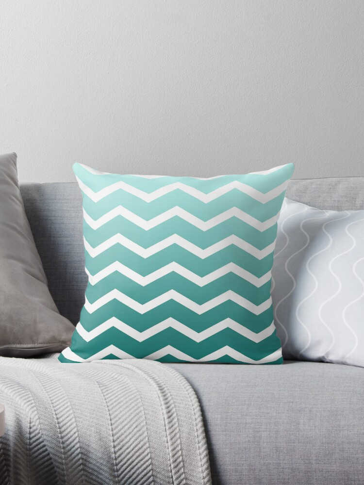 Teal Ombre Fade Chevrons by ImageNugget