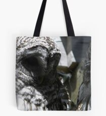Why won't you let me nap? Barred Owl pair. Tote Bag