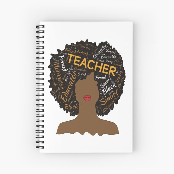 Natural Hair Afro for African American Teachers Spiral Notebook