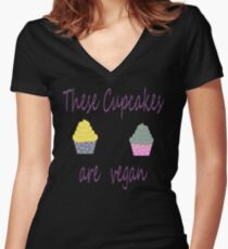 Cupcakes are Vegan Women's Fitted V-Neck T-Shirt
