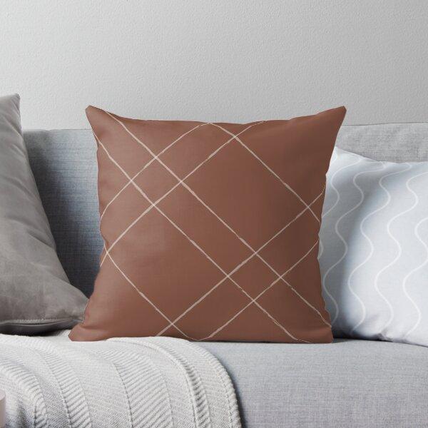 Playful Stripes rusty brown Throw Pillow