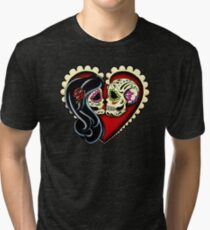 Ashes - Day of the Dead Couple - Sugar Skull Lovers Tri-blend T-Shirt