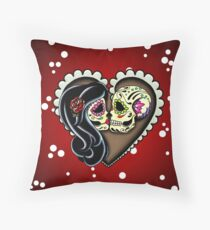 Ashes - Day of the Dead Couple - Sugar Skull Lovers Throw Pillow