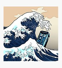 Space And Time traveller Box Vs The great wave Photographic Print