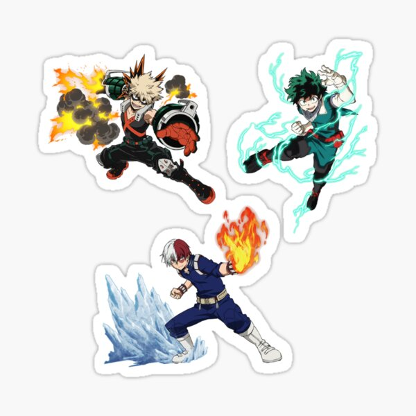 boku no hero academia - les trois gros plans d'action Sticker