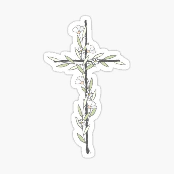 Kreuz mit kleinen Blumen Sticker