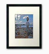 Rock Sculptures Facing Narragansett Beach  Framed Print