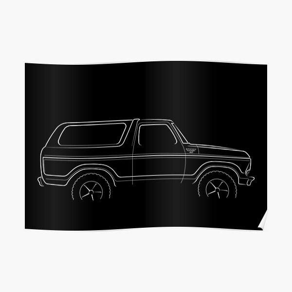 1979 Ford Bronco - profile stencil, white Poster