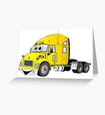 Semi Truck Yellow Cartoon Greeting Card
