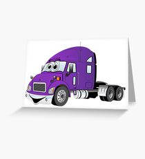 Semi Truck Purple Cartoon Greeting Card