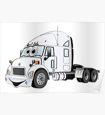 Semi Truck White Cartoon Poster