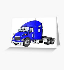 Semi Truck Blue Cartoon Greeting Card