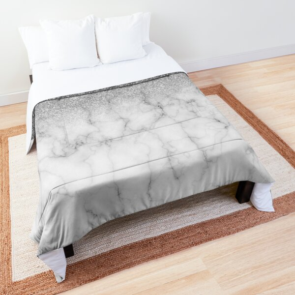 Stylish Silver Glitter Ombre Marble  Comforter