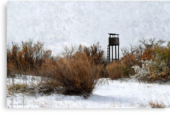 Vintage Hunting House in Winter by Annie Adkins
