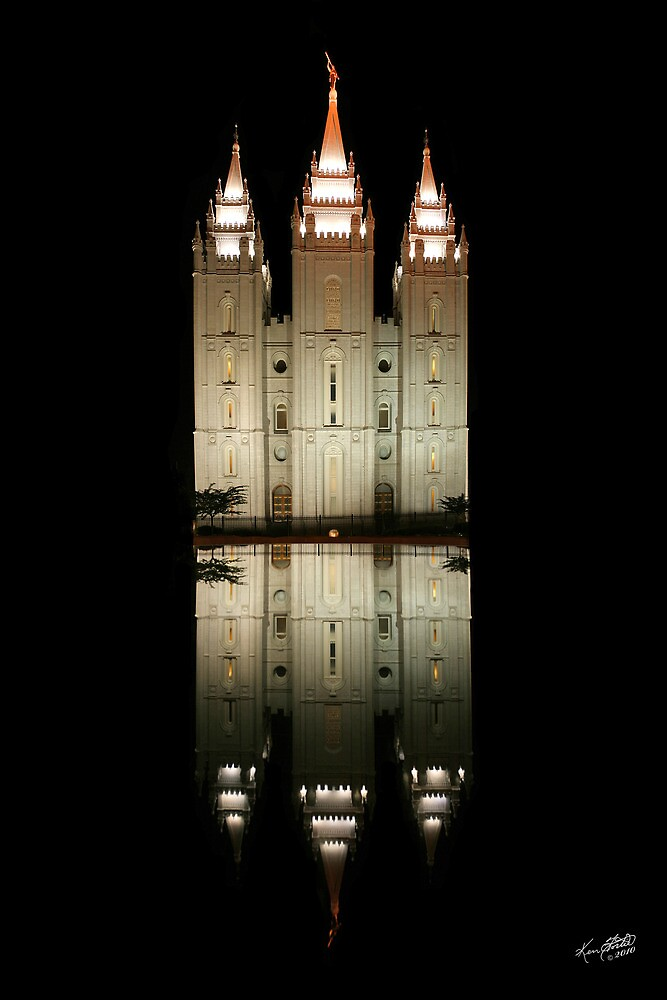 Salt Lake Temple Reflection 20x30 by Ken Fortie