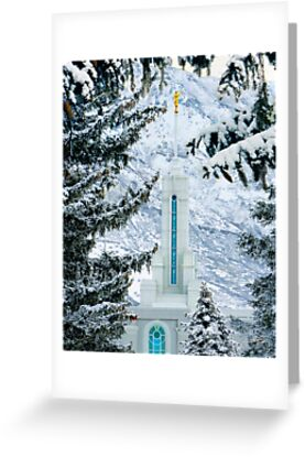 Mount Timpanogos Temple Between the Evergreens 20x24 by Ken Fortie